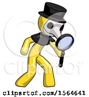 Yellow Plague Doctor Man Inspecting With Large Magnifying Glass Right