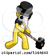 Yellow Plague Doctor Man Hitting With Sledgehammer Or Smashing Something At Angle
