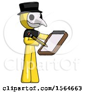 Yellow Plague Doctor Man Using Clipboard And Pencil by Leo Blanchette