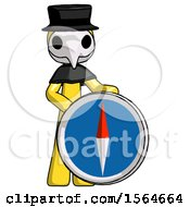 Yellow Plague Doctor Man Standing Beside Large Compass