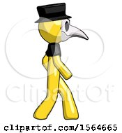 Yellow Plague Doctor Man Walking Right Side View by Leo Blanchette