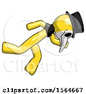 Yellow Plague Doctor Man Running While Falling Down by Leo Blanchette