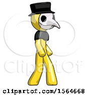 Yellow Plague Doctor Man Walking Turned Right Front View by Leo Blanchette