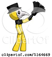 Yellow Plague Doctor Man Dusting With Feather Duster Upwards