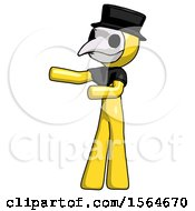 Yellow Plague Doctor Man Presenting Something To His Right