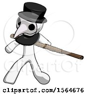 May 22nd, 2018: White Plague Doctor Man Bo Staff Action Hero Kung Fu Pose by Leo Blanchette