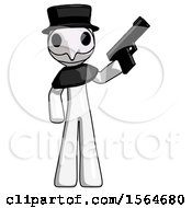 May 22nd, 2018: White Plague Doctor Man Holding Handgun by Leo Blanchette