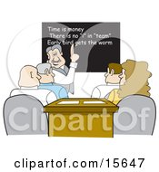 Manager Discussing Teamwork With A Group Of Employees In An Office Meeting Clipart Illustration