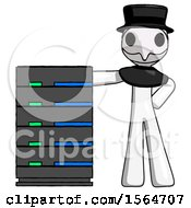 White Plague Doctor Man With Server Rack Leaning Confidently Against It