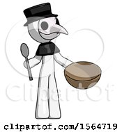 White Plague Doctor Man With Empty Bowl And Spoon Ready To Make Something
