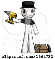 White Plague Doctor Man Holding Drill Ready To Work Toolchest And Tools To Right