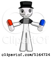 May 23rd, 2018: White Plague Doctor Man Holding A Red Pill And Blue Pill by Leo Blanchette