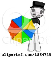 May 23rd, 2018: White Plague Doctor Man Holding Rainbow Umbrella Out To Viewer by Leo Blanchette