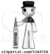 White Plague Doctor Man Standing With Large Thermometer