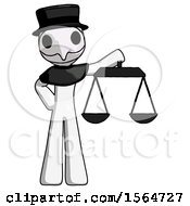 White Plague Doctor Man Holding Scales Of Justice