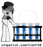 White Plague Doctor Man Using Test Tubes Or Vials On Rack