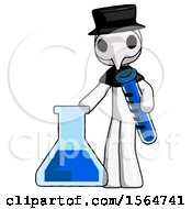 White Plague Doctor Man Holding Test Tube Beside Beaker Or Flask