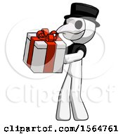 White Plague Doctor Man Presenting A Present With Large Red Bow On It