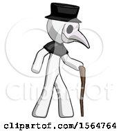White Plague Doctor Man Walking With Hiking Stick