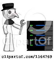 White Plague Doctor Man Server Administrator Doing Repairs