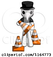 White Plague Doctor Man Holding A Traffic Cone
