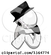 May 22nd, 2018: White Plague Doctor Man Sitting With Head Down Facing Sideways Left by Leo Blanchette