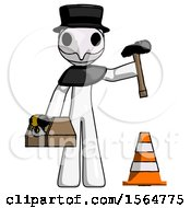 White Plague Doctor Man Under Construction Concept Traffic Cone And Tools
