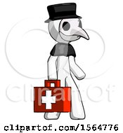 May 22nd, 2018: White Plague Doctor Man Walking With Medical Aid Briefcase To Right by Leo Blanchette