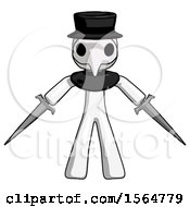 White Plague Doctor Man Two Sword Defense Pose