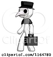 White Plague Doctor Man Walking With Briefcase To The Left