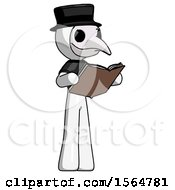 White Plague Doctor Man Reading Book While Standing Up Facing Away