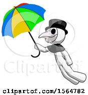 White Plague Doctor Man Flying With Rainbow Colored Umbrella