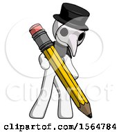 White Plague Doctor Man Writing With Large Pencil