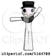White Plague Doctor Man Directing Traffic Left