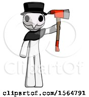 White Plague Doctor Man Holding Up Red Firefighters Ax