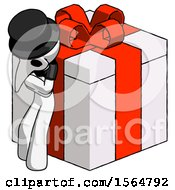 White Plague Doctor Man Leaning On Gift With Red Bow Angle View
