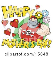 Big Male Pro Wrestler Holding Flowers With Happy Mothers Day Text Clipart Illustration