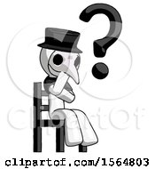 White Plague Doctor Man Question Mark Concept Sitting On Chair Thinking