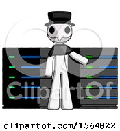 White Plague Doctor Man With Server Racks In Front Of Two Networked Systems