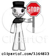 White Plague Doctor Man Holding Stop Sign