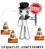White Plague Doctor Man Holding Stop Sign By Traffic Cones Under Construction Concept