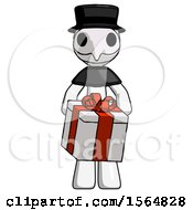 White Plague Doctor Man Gifting Present With Large Bow Front View