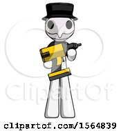 White Plague Doctor Man Holding Large Drill