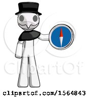White Plague Doctor Man Holding A Large Compass