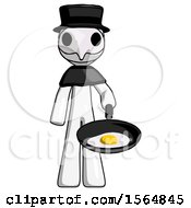 White Plague Doctor Man Frying Egg In Pan Or Wok
