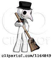 White Plague Doctor Man Sweeping Area With Broom