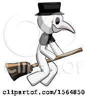White Plague Doctor Man Flying On Broom