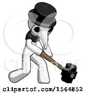White Plague Doctor Man Hitting With Sledgehammer Or Smashing Something At Angle
