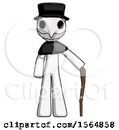White Plague Doctor Man Standing With Hiking Stick
