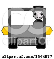 White Plague Doctor Man Driving Amphibious Tracked Vehicle Front View